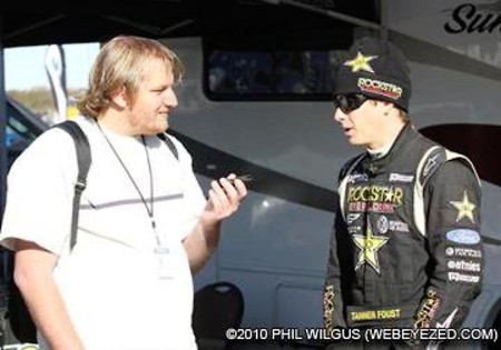 Tanner Foust being interviewed by our publisher Anthony Caruso III (Photo by Phil Wilgus)