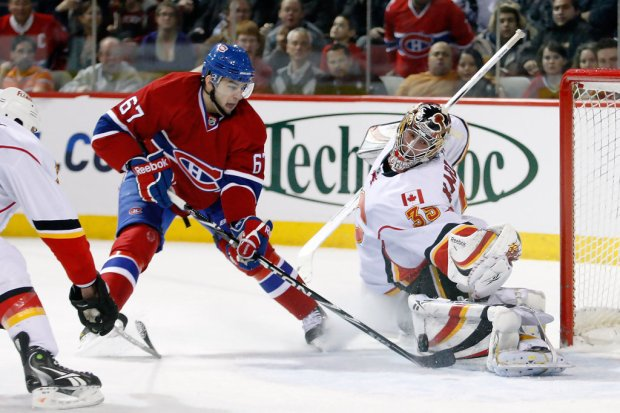 Montreal Canadiens left wing Max Pacioretty has a shot stopped by Henrik Karlsson against the Calgary Flames