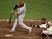 Philadelphia Phillies slugger Ryan Howard hits a double off of Javier Lopez against the San Francisco Giants