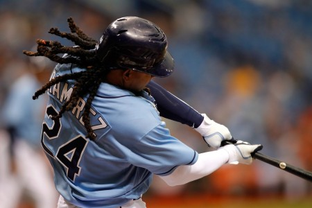 Tampa Bay Rays slugger Manny Ramirez batting