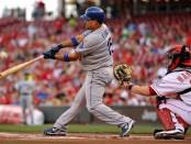 Los Angeles Dodgers infielder Rafael Furcal batting against the Cincinnati Reds
