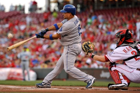 Los Angeles Dodgers infielder Rafael Furcal batting against the Cincinnati Reds