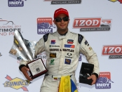 Firestone Indy Lights driver Gustavo Yacaman after winning the Baltimore 100