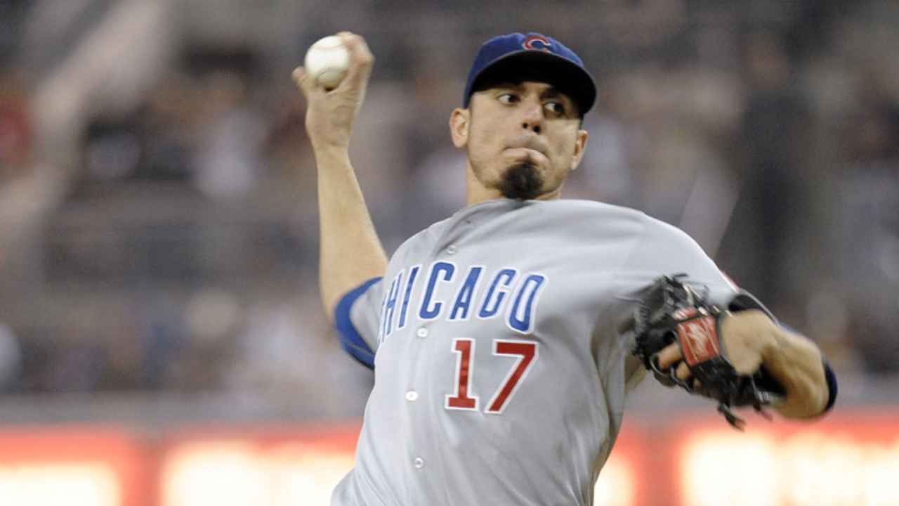 Chicago Cubs pitcher Matt Garza pitches against the San Diego Padres