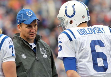 Indianapolis Colts star Peyton Manning speaking with fellow Colts quarterback Dan Orlovsky (Getty Images)