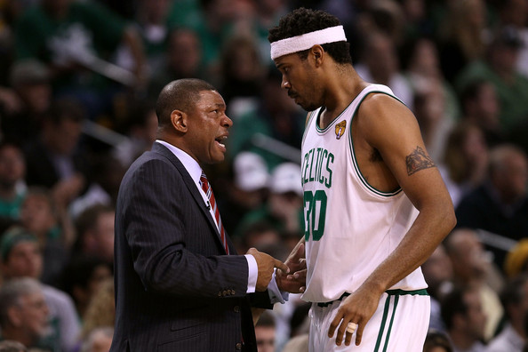 Former Boston Celtics forward Rasheed Wallace talking to head coach Doc Rivers against the Los Angeles Lakers in the 2010 NBA Finals
