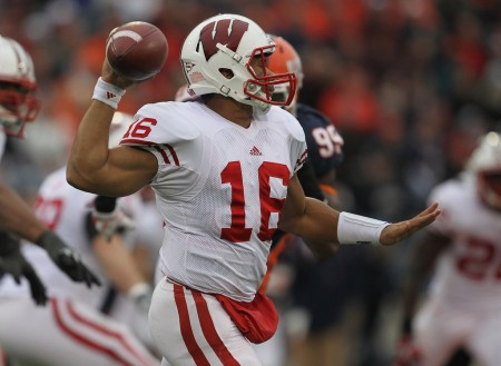 Russell Wilson is seen here as the Wisconsin Badgers quarterback (Getty Images)