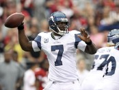 Tarvaris Jackson throwing a pass as a member of the Seattle Seahawks (Getty Images)