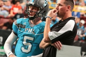 Clint Dolezel talking to Dan Raudabaugh (Photo by the Philadelphia Soul)