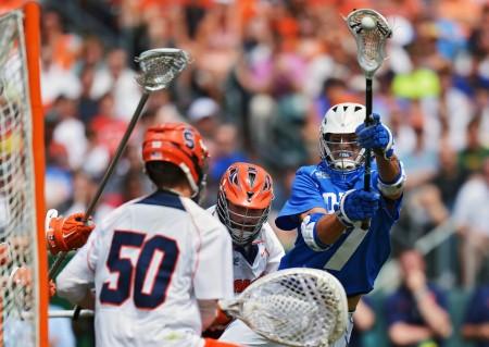 Duke's Jake Tripucka makes a play against Syracuse