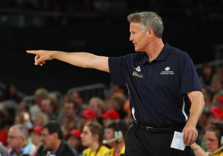 Brett Brown is seen here coaching the Australian Boomers at Hisense Arena in June 2012 (Getty Images)