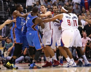 Shoving match between the Thunder and Clippers (Getty Images)