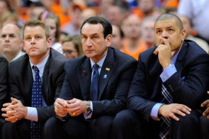 Associate head coach Steve Wojciechowski, head coach Mike Krzyzewski and associate coach Jeff Capel (Getty Images)