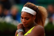Tennis Star Serena Williams reacts against Garbiñe Muguruza in their Women's Singles Match in Day Four of the French Open