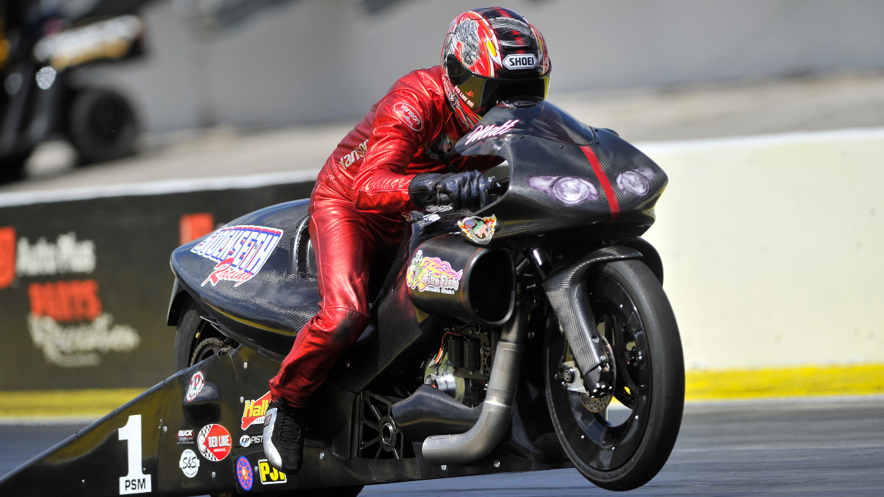 Nitro Fish sponsored Pro Stock Motorcycle rider Matt Smith racing at a 2014 national event