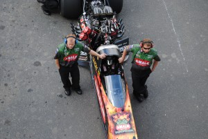 Terry McMillen in his Top Fuel dragster (Photo by David Rickert)
