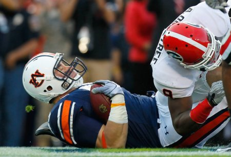 Philip Lutzenkirchen is seen here pulling in a touchdown as he is being tackled by Georgia Bulldogs' Alec Ogletree (Getty Images)