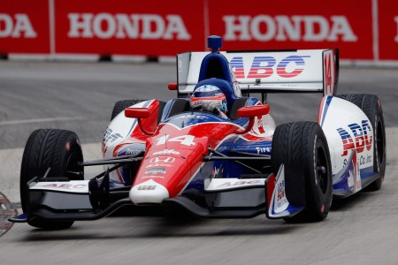 Japanese driver Takuma Sato driving an IndyCar in the Honda Indy Toronto 2