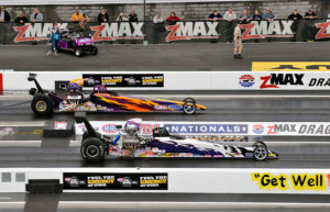 Dave Connolly in the white Top Dragster (Photo by the NHRA)