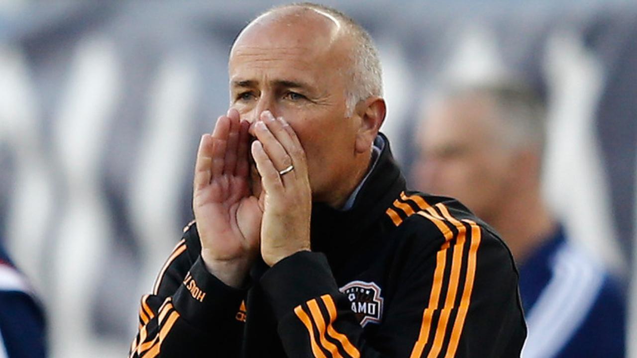 Former Houston Dynamo head coach Dominic Kinnear reacts to a call against the New England Revolution