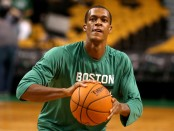 Rajon Rondo warming up before the Brooklyn Nets game (Getty Images)