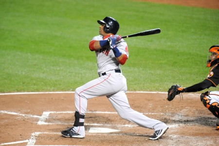 Yoenis Céspedes is seen here with the Boston Red Sox (Getty Images)