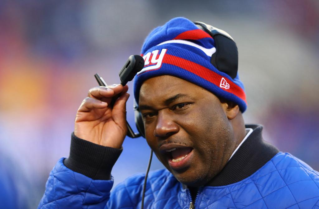 New York Giants defensive coordinator Perry Fewell looks on against the Philadelphia Eagles