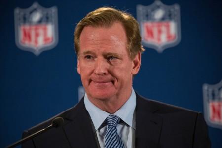 NFL Commissioner Roger Goodell talks at a press conference