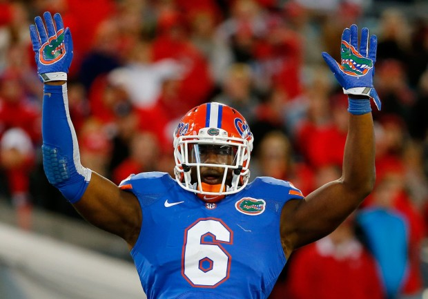 Former Florida Gators defensive end Dante Fowler Jr. asks the crowd for some noise against the Georgia Bulldogs