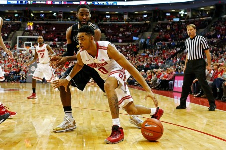 Ohio State Buckeyes guard D'Angelo Russell going to the basket against Purdue Boilermakers' Rapheal Davis (Getty Images)