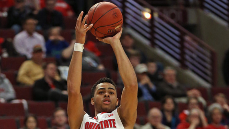 Former Ohio State Buckeyes guard D'Angelo Russell attempts a shot against the Minnesota Golden Gophers during the second round of the 2015 Big Ten Men's Basketball Tournament