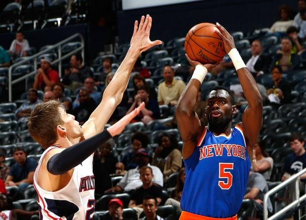 Former New York Knicks guard Tim Hardaway Jr. attempting a jumper against the Atlanta Hawks