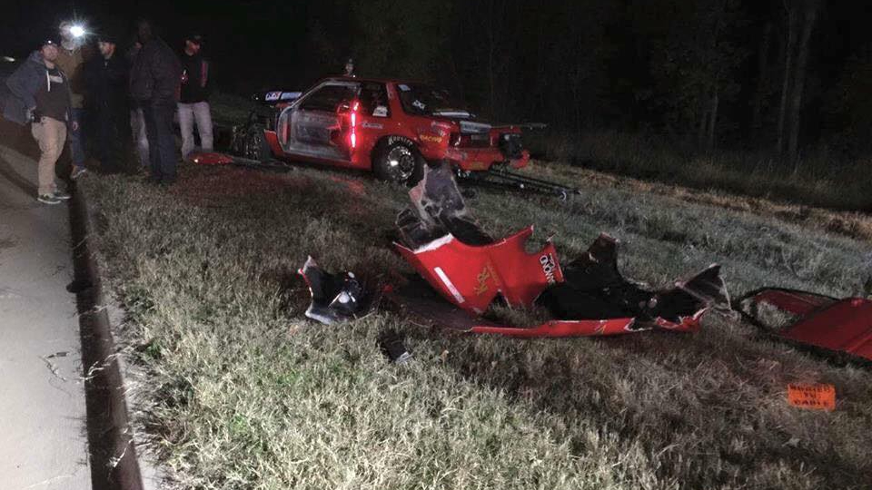 """Brian """"Chucky"""" Davis' destroyed car after being involved in an accident with Justin """"Big Chief"""" Shearer for an upcoming episode of the Street Outlaws show"""