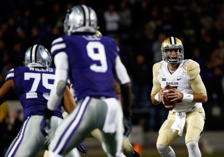 Baylor Bears quarterback Jarrett Stidham looks to pass the ball against the Kansas State Wildcats