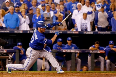 Josh Donaldson is seen here hitting the ball (Getty Images)