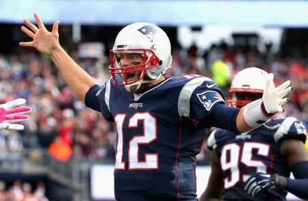 Tom Brady is seen here celebrating a touchdown (Getty Images)