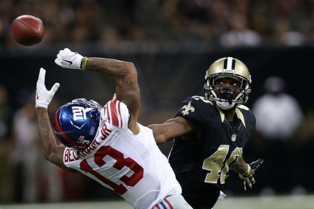 New York Giants wide receiver Odell Beckham Jr. is seen here attempting to make a catch against the New Orleans Saints (Getty Images)