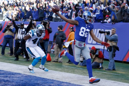 Rueben Randle is seen here as the New York Giants wide receiver scores a touchdown against the Carolina Panthers (Getty Images)