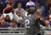 TCU Horned Frogs quarterback Trevone Boykin looks to pass the ball against the Kansas Jayhawks