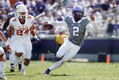 TCU Horned Frogs quarterback Trevone Boykin carries the ball against the Texas Longhorns