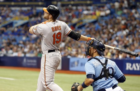 Chris Davis is seen here batting against the Tampa Bay Rays (Getty Images)