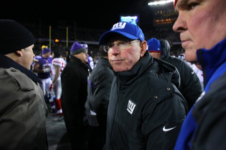Tom Coughlin is seen here as the New York Giants head coach following a game (Getty Images)