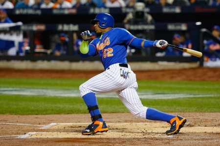 Yoenis Céspedes is seen here batting with the New York Mets (Getty Images)