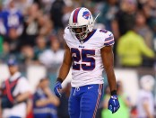 Buffalo Bills running back LeSean McCoy reacts after a penalty against the Philadelphia Eagles