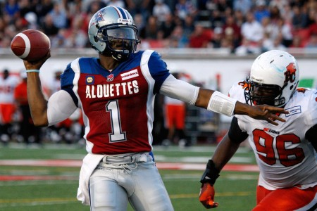 Montreal Alouettes quarterback Troy Smith looks to throw the ball against the BC Lions