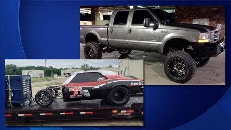 Photos of David Bird Jones' pickup, trailer, and Camaro (Photo by David Bird Jones Facebook)