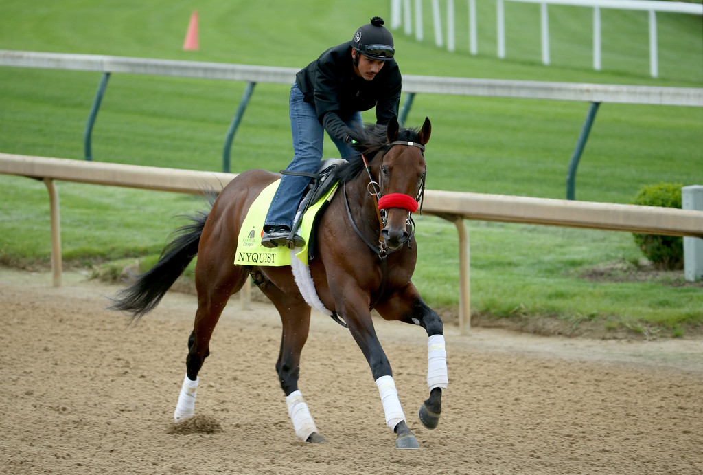 Nyquist runs on the track in a morning training before the 2016 Kentucky Derby at Churchill Downs
