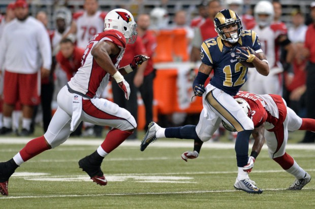 Former St. Louis Rams wide receiver Stedman Bailey makes a reception against the Arizona Cardinals