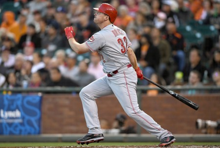 Jay Bruce is seen here batting as a member of the Cincinnati Reds (Getty Images)