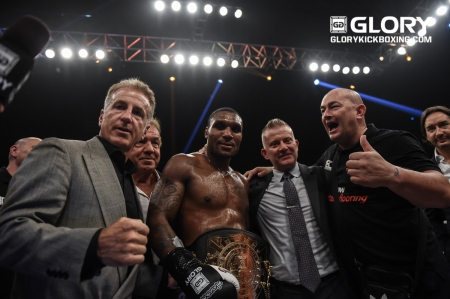 Jason Wilnis after winning the belt (Photo by James Law, GLORY Sports International)